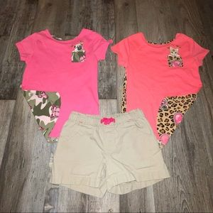 Girls lot: shorts (5T) and 2 shirts (size 5)